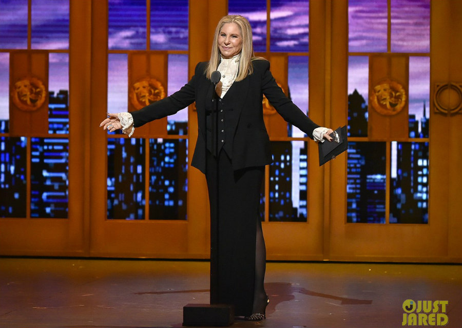 Barbra Streisand appeared for the first time since 1970 at Sunday's Tony Awards. Photo credit: Just Jared