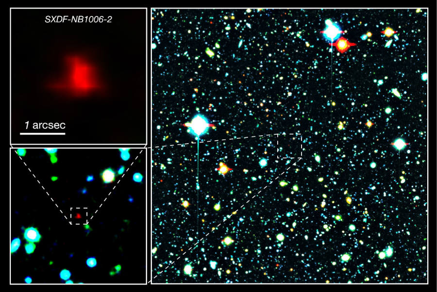 As seen above, the pinpoint location of the galaxy found to contain oxygen, one of the key factors for humans' survival. Image Credit: Astronomy Now