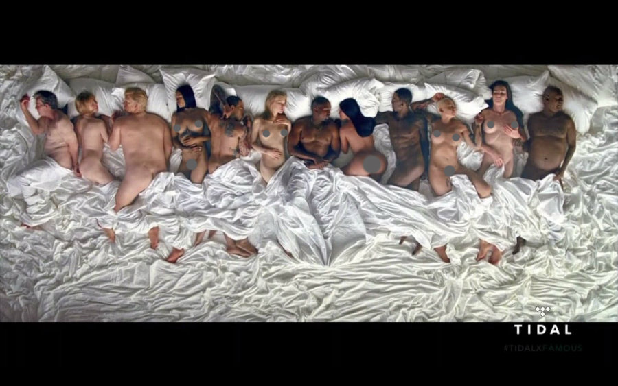 In the six minutes long video, West and his wife are accompanied by a naked George W. Bush and, Anna Wintour, Donald Trump, Rihanna, Chris Brown, Taylor Swift, Ray-J, Amber Rose, Caitlyn Jenner and Bill Cosby. Photo credit: Tidal / Popsugar