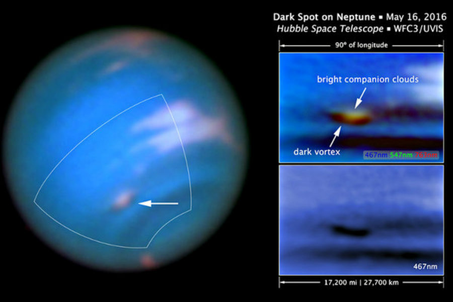 Images obtained by NASA's Hubble Space Telescope on May 16 portray a dark vortex in Neptune's atmosphere. Photo credit: NASA, ESA, and M.H. Wong and J. Tollefson / UC Berkeley / Christian Science Monitor