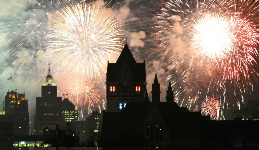 The annual fireworks show blasts over the skies of Windsor and Detroit on Monday, June 27. Image Credit: Crain's Detroit