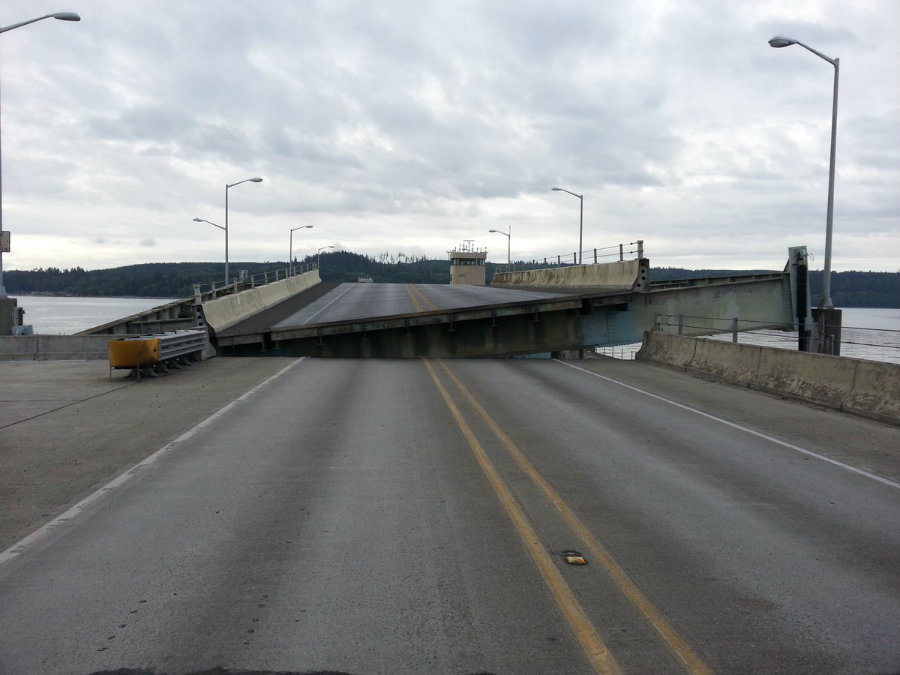 On early Sunday morning, the State Route 104 Hood Canal Bridge was closed after experiencing a mechanical malfunction during a marine opening.  Photo credit: Washington State DOT