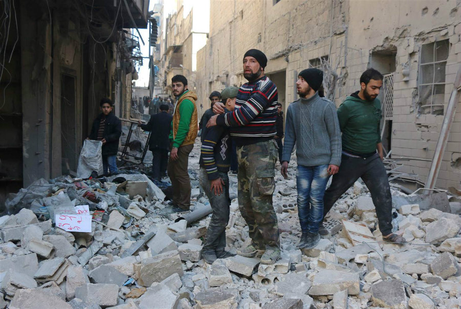 The British Human Rights Observatory in Syria reported that a series of airstrikes reported on Thursday resulted in at least 12 fatal victims, and many injured. Photo credit: Thaer Mohammed / AFP / Getty Images / NBC News