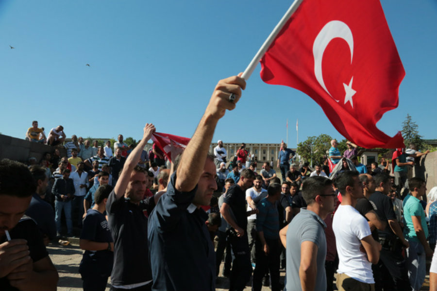 Thousands of people in Turkey rally on the streets. Obama stressed that Turkey and the United States would continue cooperating against terrorism. Image Credit: Daily Mail