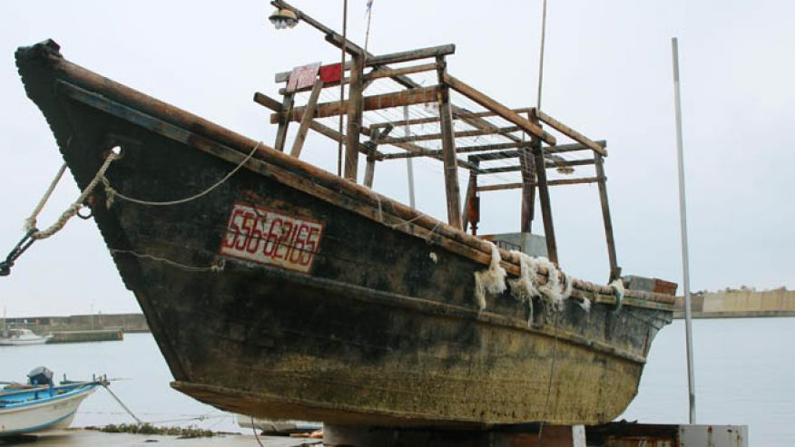 A ship of unknown nationality in Wajima, Ishikawa prefecture, central Japan, after it was found in mid-November off Noto peninsula and was towed to the shore. Credit: AP/Kyodo News/Fox News