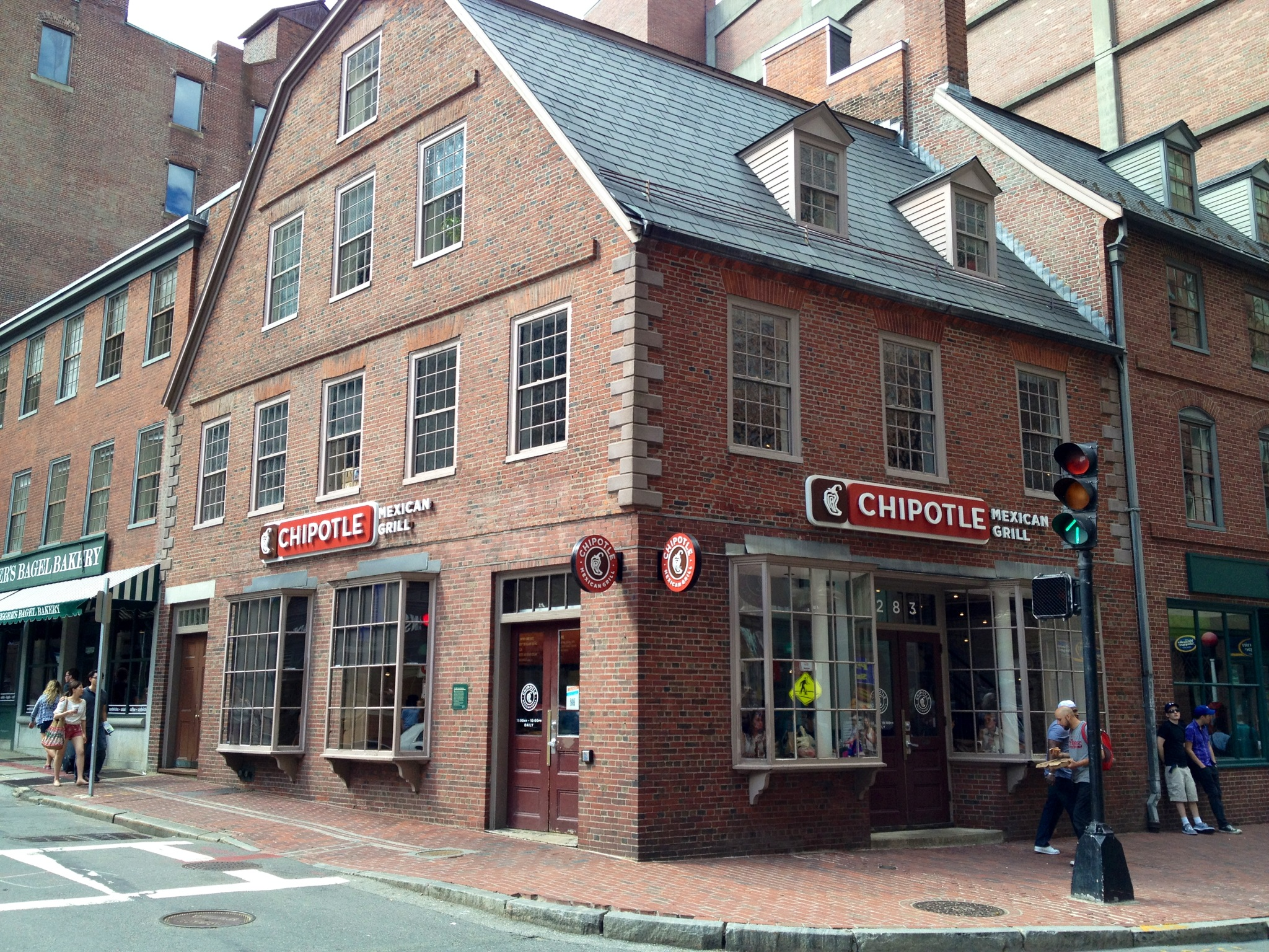 The historical site of the Old Corner Bookstore in Boston, Mass., which is now a Chipotle. Credit: Lakewood Mag.