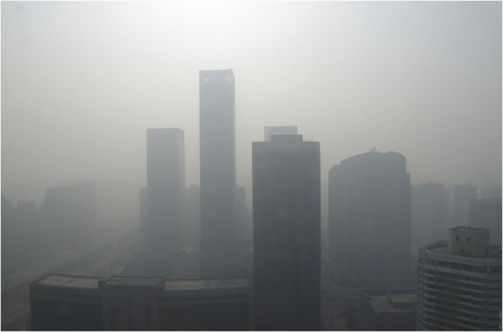 The China Central Television building covered in smog. Photo: AP.