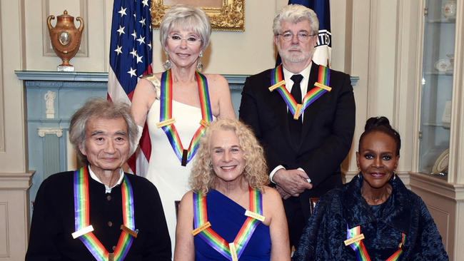 The 2015 honorees are: singer-songwriter Carole King, filmmaker George Lucas, Puerto Rican actress and singer Rita Moreno, Japanese conductor Seiji Ozawa, and actress and Broadway star Cicely Tyson. Credit: The Chicago Tribune.