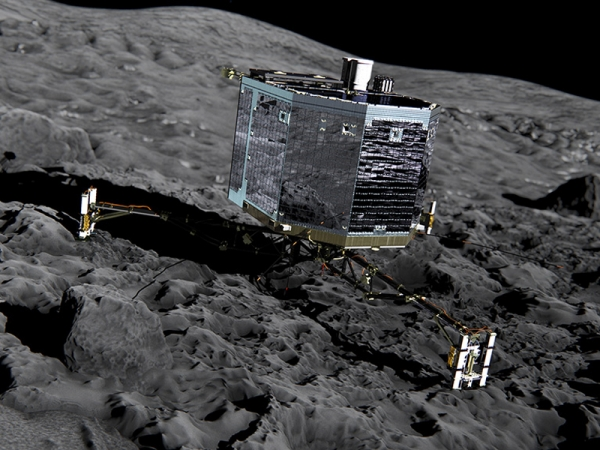 The European Space Agency is doing its best to nudge the comet lander Philae back to life after six months of hibernation. On Sunday, Jan. 10, scientists will send a command to the robot lab in hopes of restoring contact. Credit: TechTimes/ESA/ATG medialab