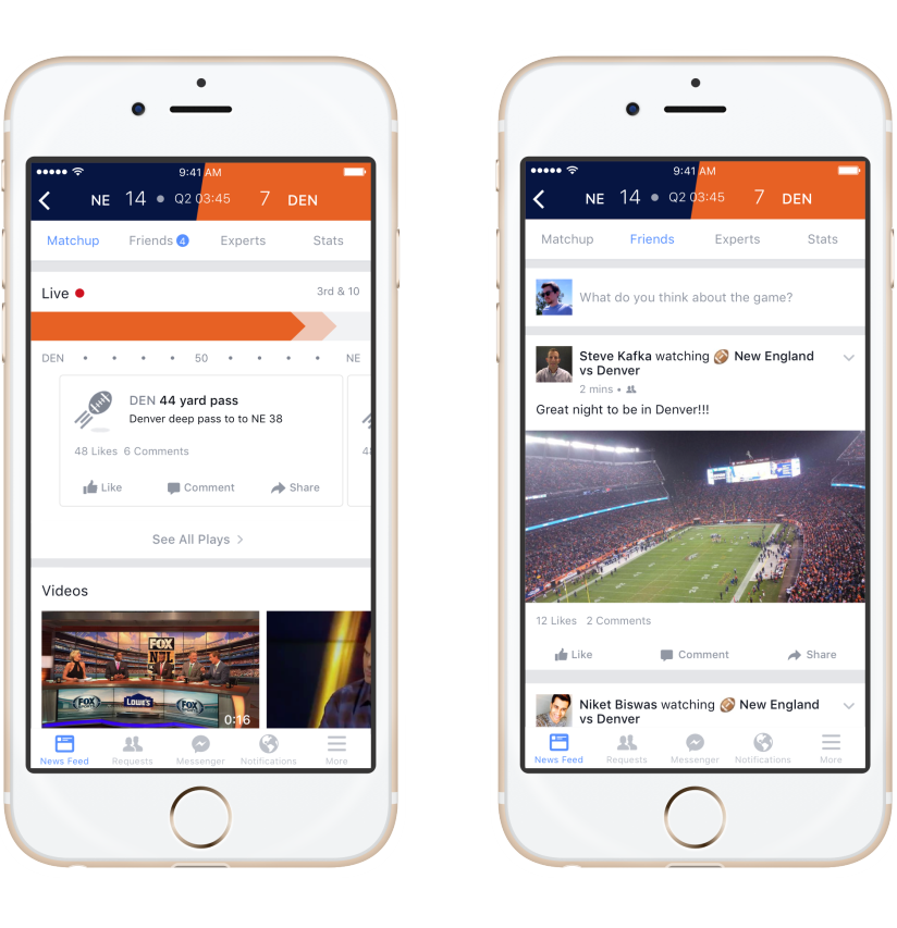 Screenshot of the mobile version of the Facebook Sport Stadium. Image: Facebook