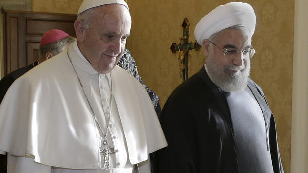 Iran's President Hassan Rouhani walks with Pope Francis at the Vatican, Jan. 26, 2016. Credit: CBS News/Reuters