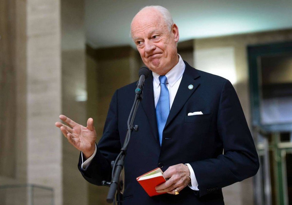 UN envoy for Syria Staffan de Mistura speaks to journalists during ongoing peace talks with representatives of the Syrian regime at the United Nations (UN) Offices in Geneva on Jan. 29. Credit: Bloomberg/Fabrice Coffrini/AFP via Getty Images