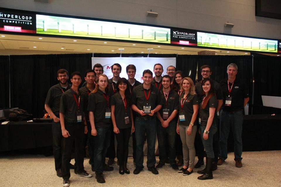 The MIT Hyperloop Team placed first out of more than 100 university teams from around the world. Photo: The Boston Globe/MIT