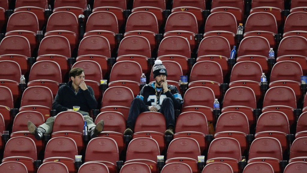 Fans watching the Super Bowl. Photo: ABC News/AP Photo/Charlie Riedel