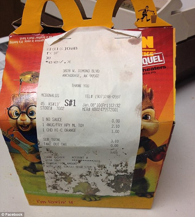 Proof of purchase: Jennifer also shared a photo of the Happy Meal box and receipt to show that the meal was purchased in Anchorage on January 8, 2010. Credit: The Daily Mail/Facebook