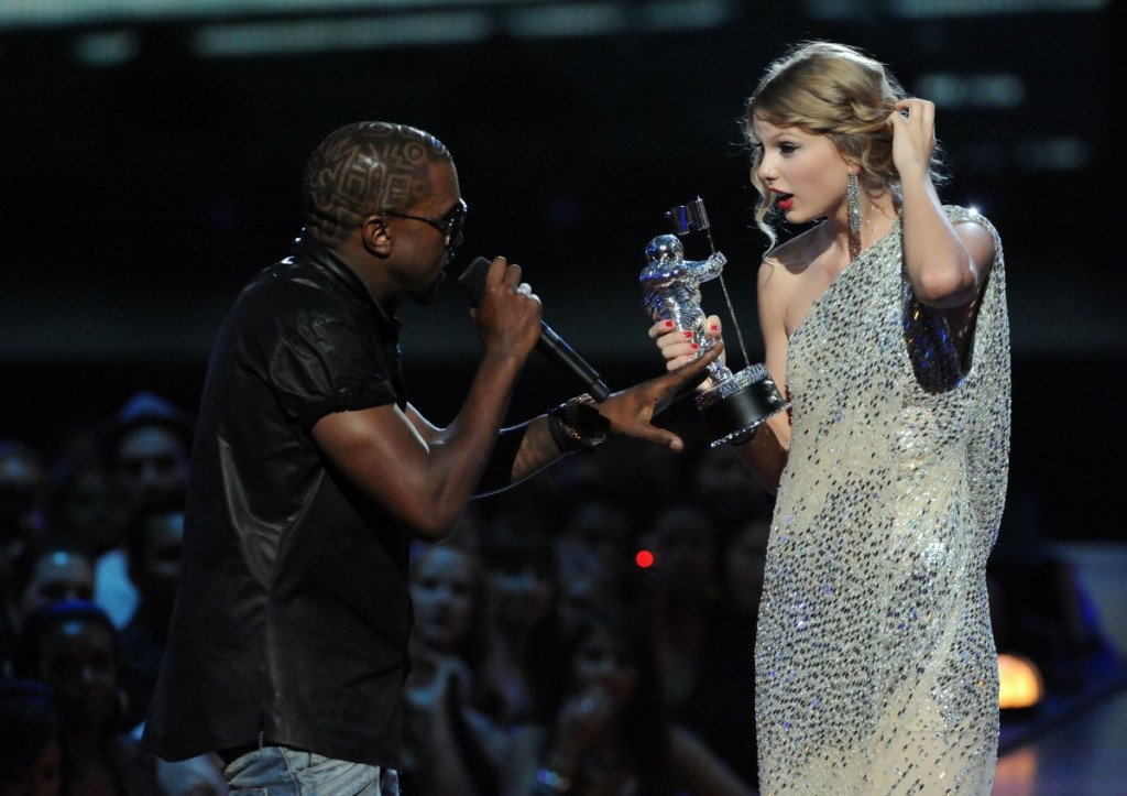 Kanye West and Taylor Swift at the 2009 VMA's. Photo: The Business Insider/ Jeff Kravitz/FilmMagic