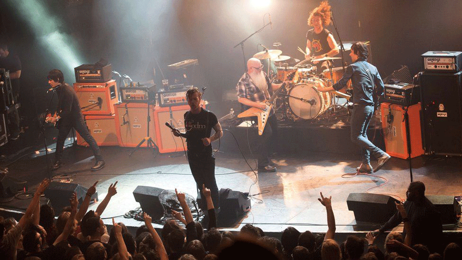 Eagles of Death Metal returned to finish the concert they had started three months ago.  Photo credit: BBC