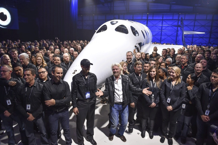 LAS CRUCES, New Mexico - Richard Branson's Virgin Galactic on Friday unveiled the Spaceship Unity. Photo credit: Ricky Carioti / The Washington Post