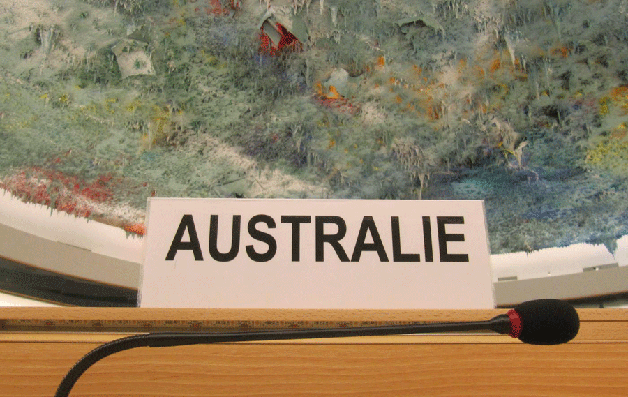 Australia's placard at the United Nations Human Rights Council in Geneva © 2015 Human Rights Watch. Photo credit: Human Rights Watch