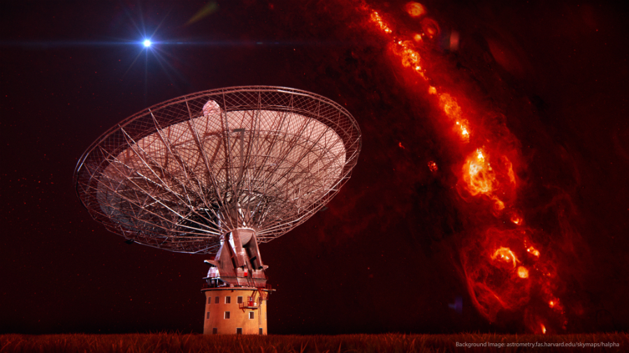 The Parkes radio telescope located four brief but powerful bursts of energy from other galaxies. In this image, the telescope is superimposed on an image of the gas in the Milky Way. Credit: Swinburne Astronomy Productions/vr.swin.edu.au