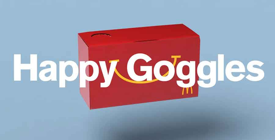 Happy Goggles are a cardboard virtual reality headset made from the Happy Meal box. Photo credit: Enter The Rift