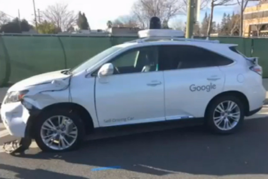 The Lexus RX450h SUV controlled by Google's AV technology sustained significant front-end damage. Credit: Computer World/Santa Clara Valley Transportation Authority