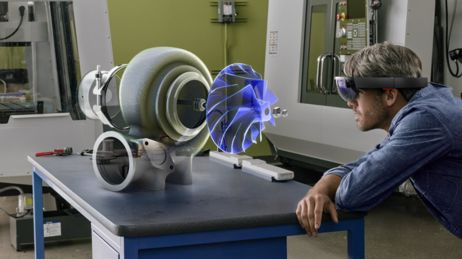 Microsoft has presented its new creation, the HoloLens reality headset. Photo credit: Gizmodo