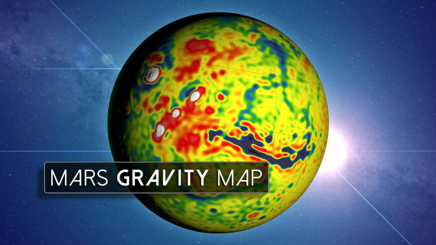 "NASA has created a high-definition map of Mars' gravity, which provides a ""revealing glimpse"" into the mysterious but interesting interior of the Red Planet. Photo credit: NASA Scientific Visualtization Studio"
