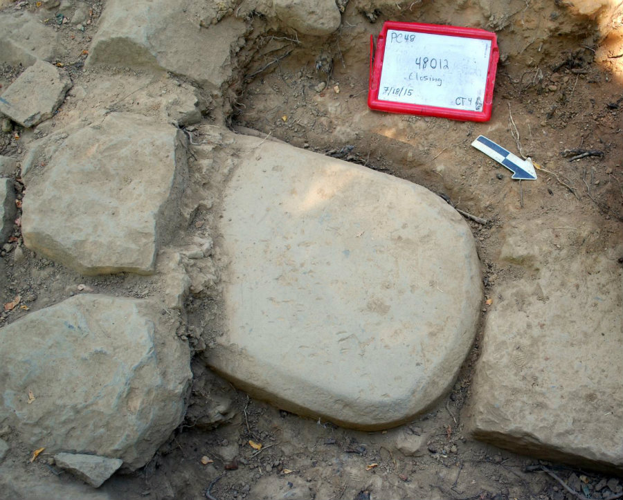 Archaeologists have found a 6th century BCE sandstone slab in an Etruscan temple, containing a sacred text in the Etruscan language. Photo credit: E Science News