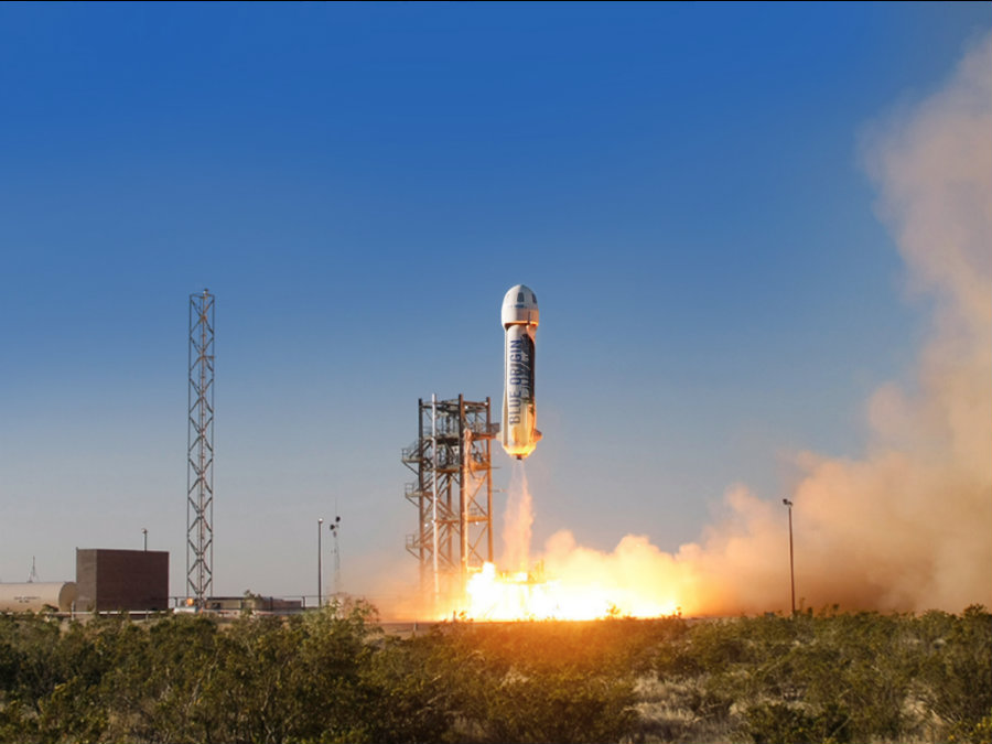 Blue Origin launched the New Shepard into suborbital space on Saturday. Photo credit: Business Insider
