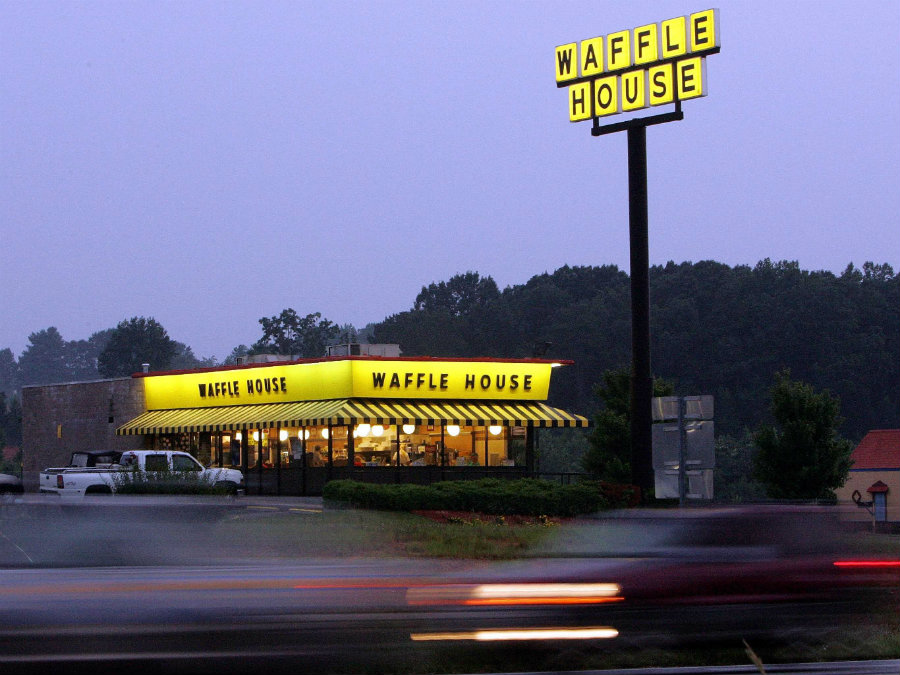 n unsuccessful robbery-attempt happened at one of the 24-hour chain Waffle House, where a customer fought against a would-be robber – armed with an AK-47 kind of rifle – early Saturday. Photo credit: Business Insider