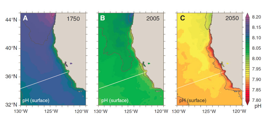 Past, current and future modeling of ocean surface pH along the California Current System for 1750, 2005 and 2050. Credit: West Coast Governors Alliance on Ocean Health