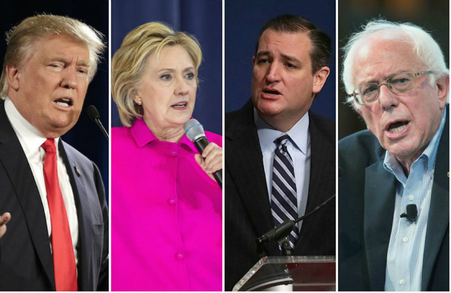 Ted Cruz and Bernie Sanders defeated the Republican front-runner Donald Trump and the Democratic front-runner Hillary Clinton, respectively, in the Wisconsin primaries.  Photo credit: Getty Images / JTA Photo Archive
