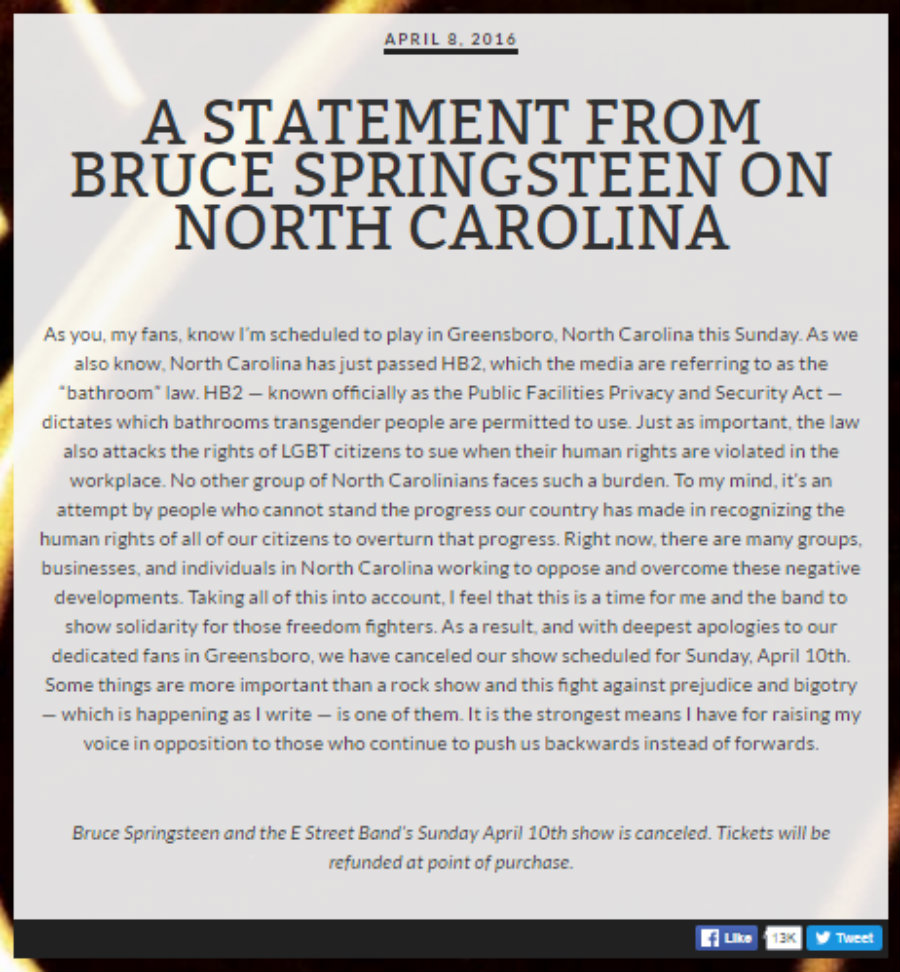 A statement from Bruce Springsteen on North Carolina. Photo credit: Brucespringsteen.net