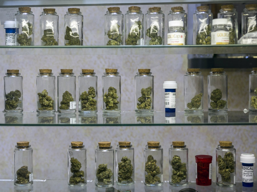 In this photo taken Tuesday, May 14, 2013, Medical marijuana vials are displayed at the Venice Beach Care Center medical marijuana dispensary in Venice, Calif. Credit:  AP / Damian Dovarganes / MSNBC