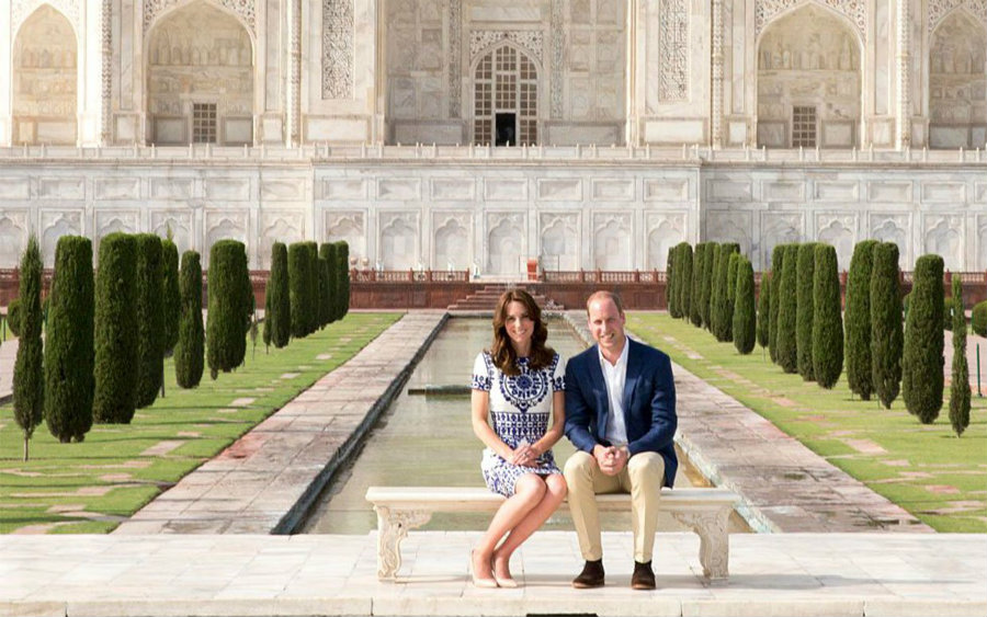 the Duke and Duchess of Cambridge, Prince William and Catherine, visited the Taj Mahal, Agra, India, on Saturday, April 16. Photo credit: Ian Vogler / Pool / Getty Images