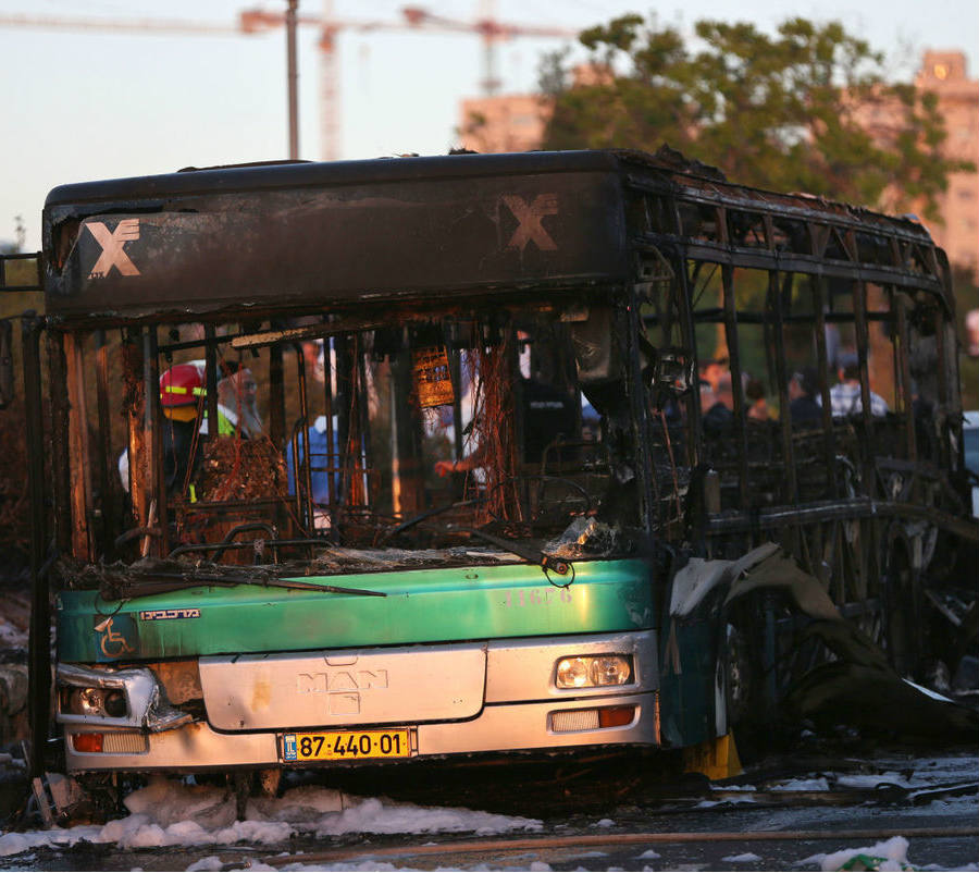 One of the two buses that exploded during rush hour in Jerusalem on Monday. Credit: Jewish News