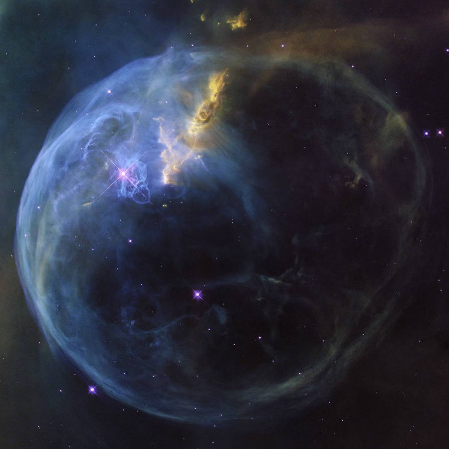 Hubble Space Telescope image, released to celebrate Hubble's 26th year in orbit, captures in stunning clarity what it looks like a gigantic soap bubble in space. Researchers claim it measures 10 light years in diameter. Credit: Space Telescope