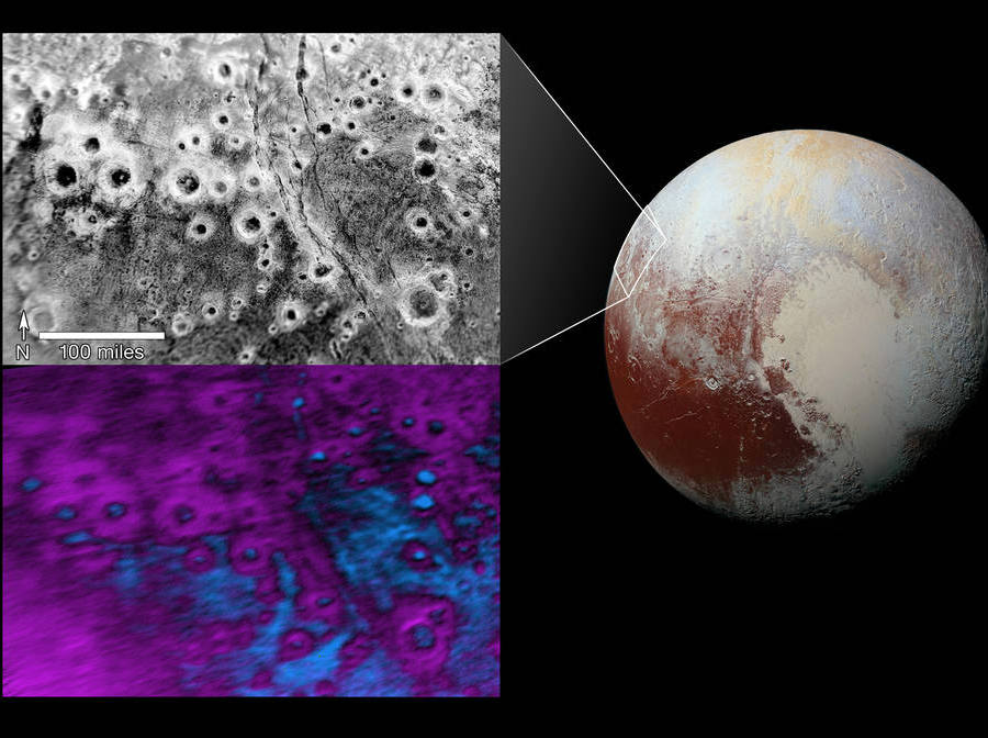 As seen in the picture above, the black and white image best displays the halo craters found in Pluto, where the largest is estimated to be around 30 miles across. Credit: Techno Buffalo