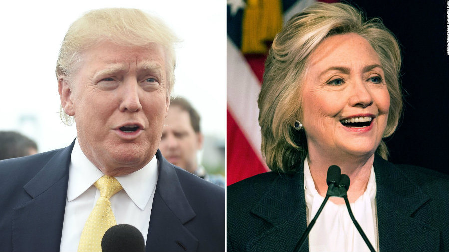 Candidates Hillary Clinton and Donald Trump prepared on Sunday to a new crucial round of presidential primaries. Photo credit: CNN