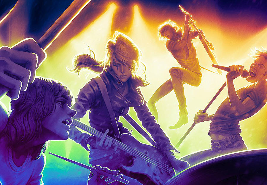 The new Rock Band 4 to be released by the game developer studio Harmonix will not only bring tons of new content for players to rock out to, but also a new simultaneous one on one mode in real time. Credit: VG247