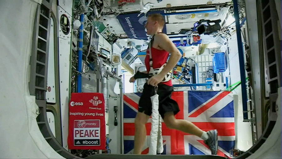 Tim Peak, a 44-year-old astronaut, ran the London Marathon, on April 24, using a virtual-reality video while being on a treadmill on board of the ISS. Photo credit: ESA / AP