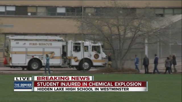 The incident took place on Wednesday afternoon after a explosion in the Hidden Lake High School's science lab resulted on one student injured. Credit: Denver Channel