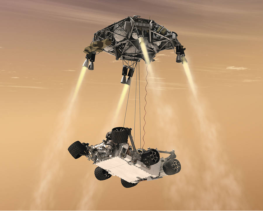 As seen above, a somewhat accurate sight of Curiosity landing via the sky crane system, through an artist's interpretation. Mars 2020 will use the same technique. Credit: NASA
