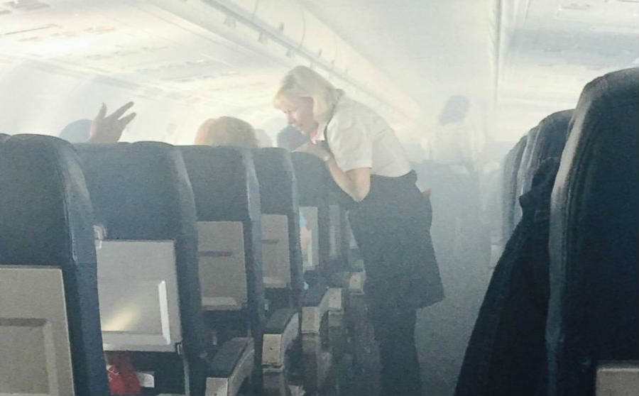 As seen above, an image of the moment passengers realized there was going to be an emergency landing in the flight from Ft. Lauderdale to Pittsburgh. Image Credit: ABC News