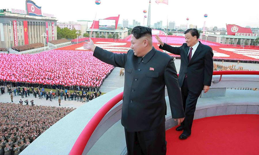 Kim Jong Un salutes his people