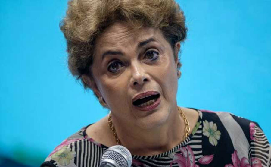 Dilma Rousseff addresses the public on a public statement