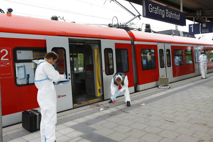 Around 5 a.m. local time (11 p.m. ET), four train passengers were attacked by a man with a knife in Germany. Photo credit: Matthias Schrader / AP