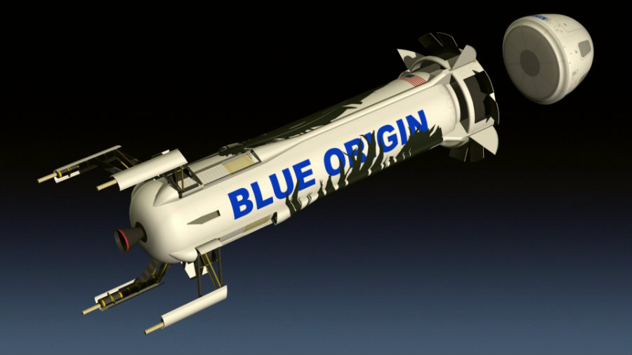 The New Shepard suborbital space vehicle owned by Blue Origins made it to the company's landing site in West Texas for the third time in a row. Image credit: Emigepa.deviantart.com
