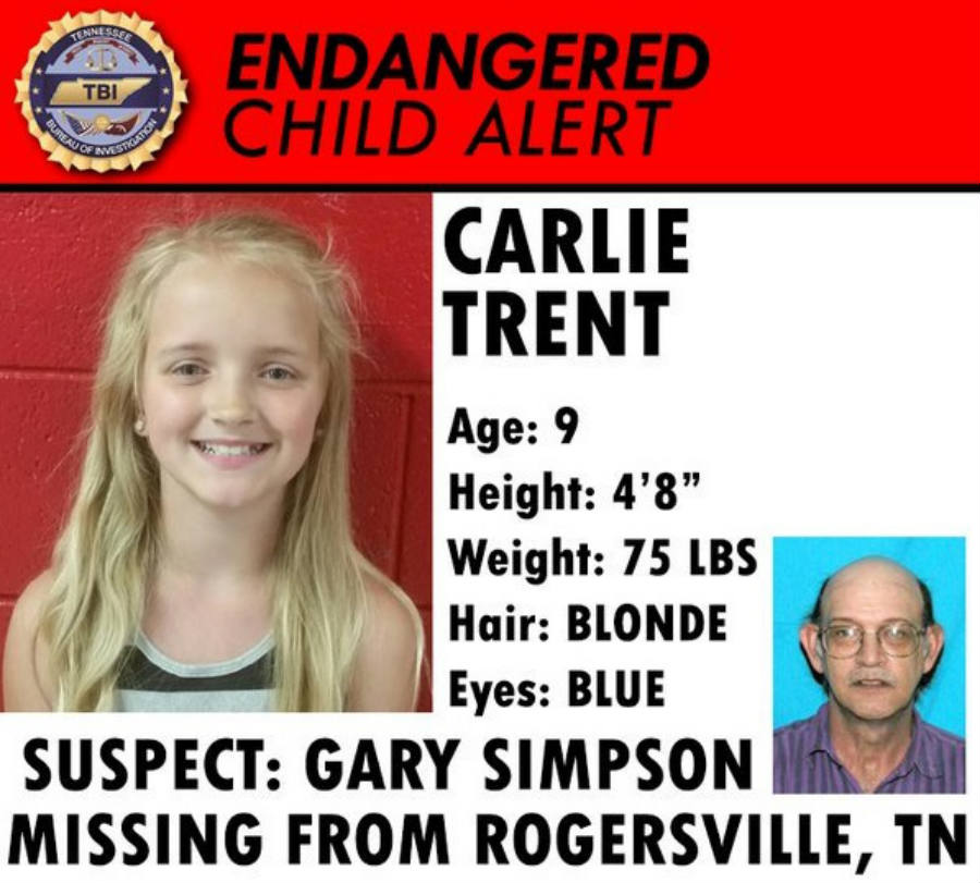 Carlie Trent was last seen with his uncle Gary Simpson after the 9-year-old was signed off her elementary school. Authorities are working to find the main suspect, who is Carlie's uncle by marriage. Image Credit: WJHL